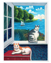 Poster  Cats and Sea - Jerzy Marek