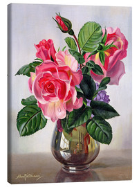 Tableau sur toile  Lady Sylvia Roses in a Silver Vase - Albert Williams