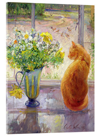 Verre acrylique  Cat with Flowers in the window - Timothy Easton