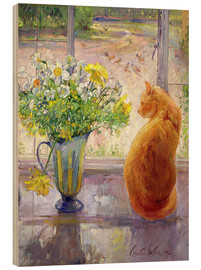 Bois  Cat with Flowers in the window - Timothy Easton