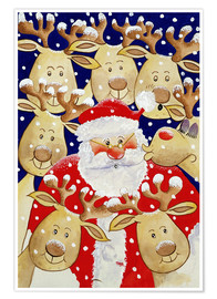 Poster Santa and his deers