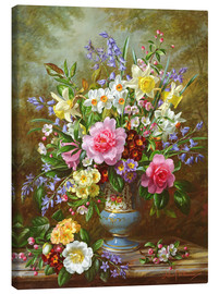 Toile  Bluebells, daffodils, primroses and peonies - Albert Williams