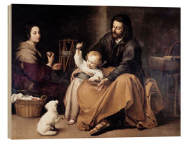 Tableau en bois  The Holy Family with the Little Bird - Bartolome Esteban Murillo
