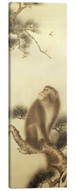 Tableau sur toile  Monkey watching a dragonfly - Japanese School