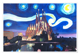 Poster  Starry Night in Barcelona   Van Gogh Inspirations with Sagrada Familia - M. Bleichner