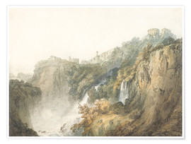 Poster  Tivoli with the Temple of the Sibyl and the Cascades - Joseph Mallord William Turner