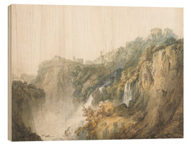Tableau en bois  Tivoli with the Temple of the Sibyl and the Cascades - Joseph Mallord William Turner