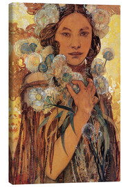Toile  Native American Woman with Flowers and Feathers - Alfons Mucha