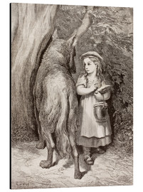 Tableau en aluminium  Scene From Little Red Riding Hood By Charles Perrault - Gustave Doré