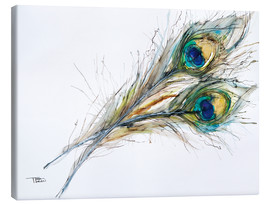 Tableau sur toile  Watercolor of two peacock feathers - Tara Thelen