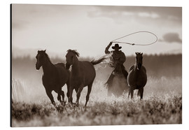 Tableau en aluminium  Cow-boy et son lasso - Richard Wear