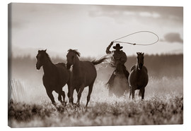 Toile  Cowboy des captures de chevaux - Richard Wear