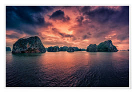 Poster  Sunrise over Halong Bay - Stefan Becker