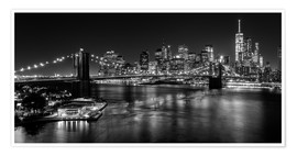 Poster  New York City la nuit (monochrome) - Sascha Kilmer