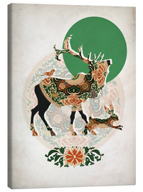 Toile  stag, bird and hare - Mandy Reinmuth