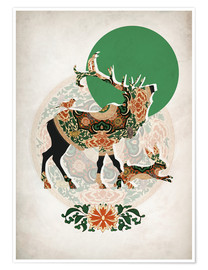 Poster  stag, bird and hare - Mandy Reinmuth