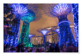Poster  Supertrees dans le parc « Gardens by the Bay » à Singapour - Peter Schickert