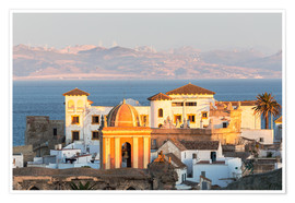 Poster  Strait of Gibraltar and town of Tarifa at sunset, Andalusia, Spain - Matteo Colombo
