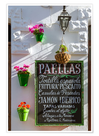 Poster  Typical whitewashed ornate wall and paella sign, Andalusia Spain - Matteo Colombo