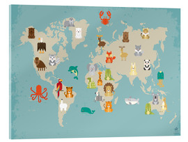 Verre acrylique  The animal world map for the nursery - Petit Griffin
