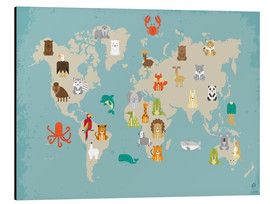 Alu-Dibond  The animal world map for the nursery - Petit Griffin