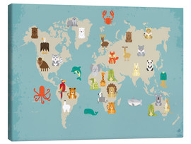 Toile  The animal world map for the nursery - Petit Griffin