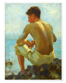 Poster  Rowing in the shade - Henry Scott Tuke