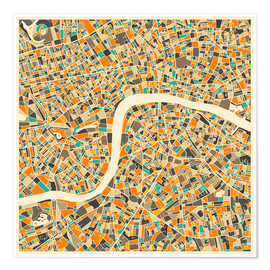Poster  Carte de Londres - Jazzberry Blue