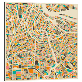 Alu-Dibond  Amsterdam Map - Jazzberry Blue