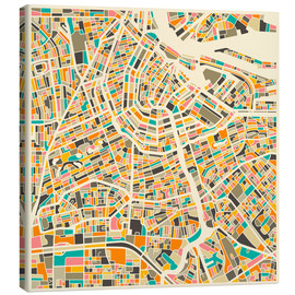 Toile  Amsterdam Map - Jazzberry Blue