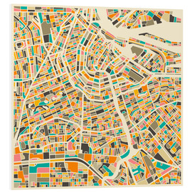 Tableau en PVC  Carte d'Amsterdam - Jazzberry Blue