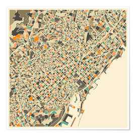 Poster  Carte de Barcelone - Jazzberry Blue