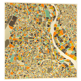 Tableau en verre acrylique  New Delhi Map - Jazzberry Blue
