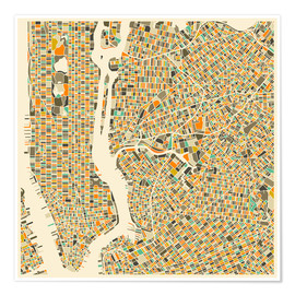 Poster  Carte de New York - Jazzberry Blue