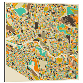 Tableau en aluminium  Melbourne Map - Jazzberry Blue