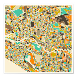 Poster  Melbourne Map - Jazzberry Blue