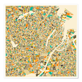 Poster  Copenhagen Map - Jazzberry Blue