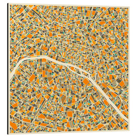 Tableau en aluminium  Carte colorée de Paris - Jazzberry Blue