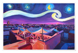 Poster  Starry Night in Marrakech   Van Gogh Inspirations on Fna Market Place in Morocco - M. Bleichner