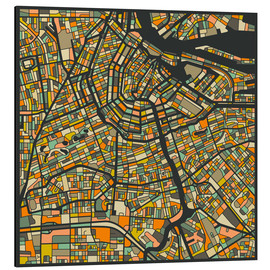 Tableau en aluminium  Carte d'Amsterdam - Jazzberry Blue