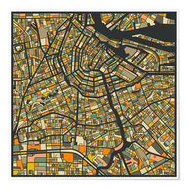 Poster  Amsterdam Map - Jazzberry Blue