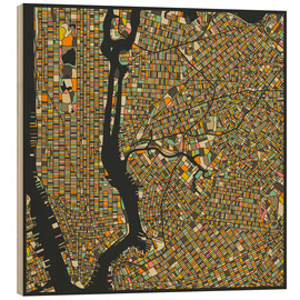 Tableau en bois  Carte de New York - Jazzberry Blue