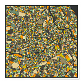 Poster  Vienna Map - Jazzberry Blue