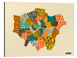 Tableau en aluminium  Arrondissements de Londres - Jazzberry Blue