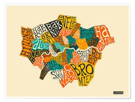 Poster  Arrondissements de Londres - Jazzberry Blue