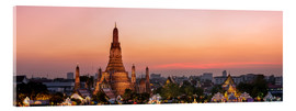 Tableau en verre acrylique  Panoramic of Wat Arun temple at sunset, Bangkok, Thailand - Matteo Colombo
