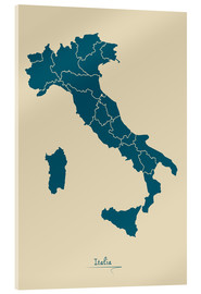 Verre acrylique  Modern map of Italy Artwork Design - Ingo Menhard
