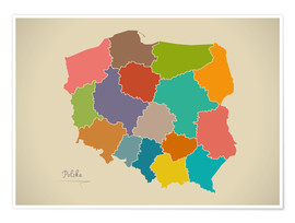 Poster  Modern Map of Poland Artwork Design - Ingo Menhard