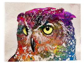 Verre acrylique  owl drowing - Mark Ashkenazi