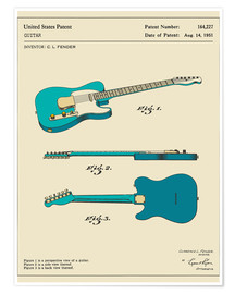 Poster  Guitar Patent (1951) - Jazzberry Blue